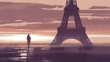 alone in Paris, woman looking at the Eiffel tower at early morning, digital art style, illustration painting © grandfailure