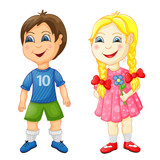 Preschool boy and girl isolated on white