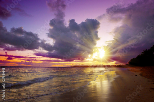 Caribbean sunset on tropical beach. Sky sunset.