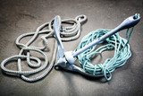 Boat anchor and  ropes - 217851419
