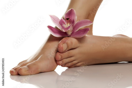 Canvas Pedicure beautifully groomed female feet with orchid on a white background