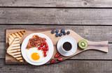 Breakfast  on rustic table