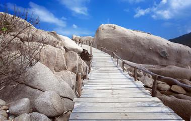 wooden bridge on the Koh Yuan island