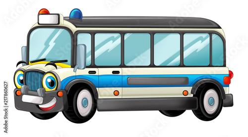 cartoon scene with happy ambulance truck on white background - illustration for children - 217860627