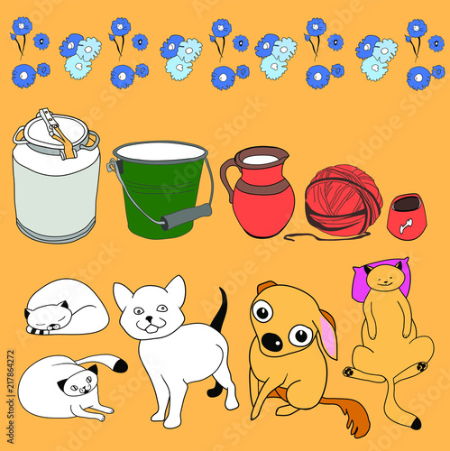 A set of unique characters of domestic animals, and household items in village life, in color