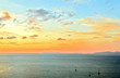 Ocean with sunset and colorful  sky for wallpaper or postcard.