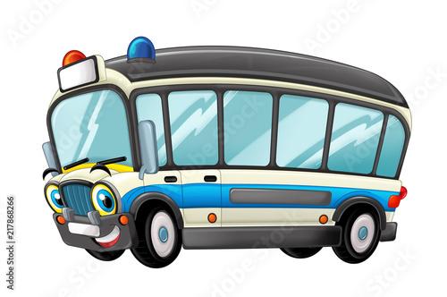 cartoon scene with happy ambulance truck on white background - illustration for children - 217868266