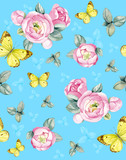 Flower arrangement of pink roses with a butterfly on a blue background. Suitable for invitations, business cards, drawing on fabric, wallpaper.