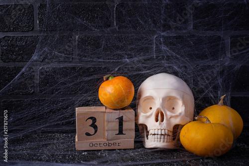 Foto Murales Halloween background with wooden calendar