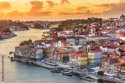 Porto, Portugal old town skyline from across the Douro River..Porto, Portugal old town skyline