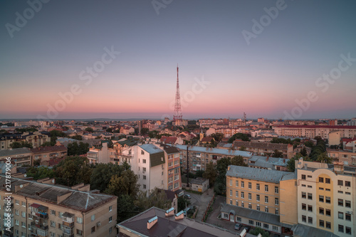 Foto Murales Aerial view in Ivano - Frankivsk city at sunset