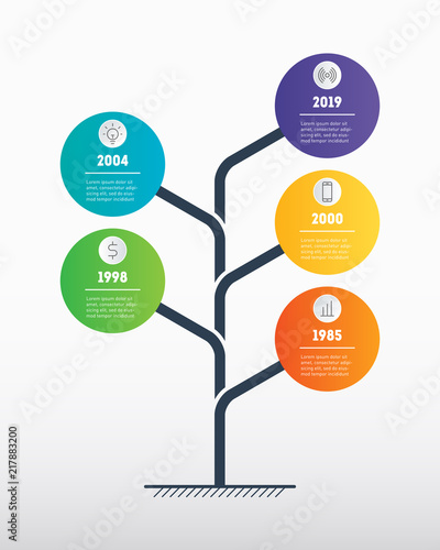 Vertical Business Presentation Concept With 5 Options Web Template