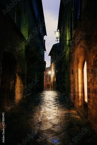 Old European illuminated street at rainy night
