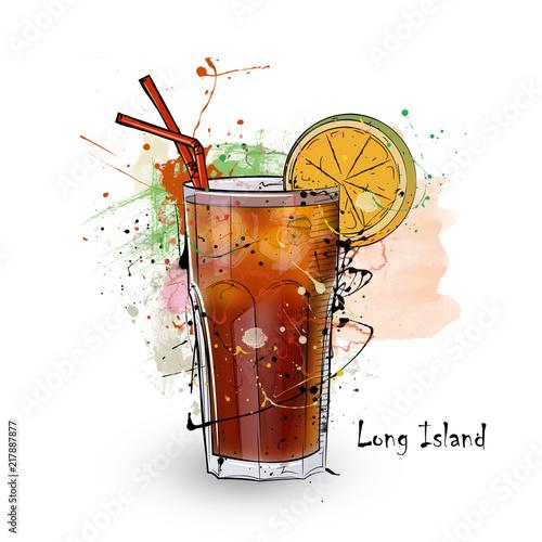 Leinwanddruck Bild Hand drawn illustration of cocktail.