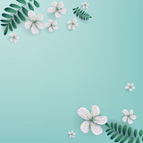 Cherry blossoms with copy space, White sakura flowers.  Springtime. Vector illustration