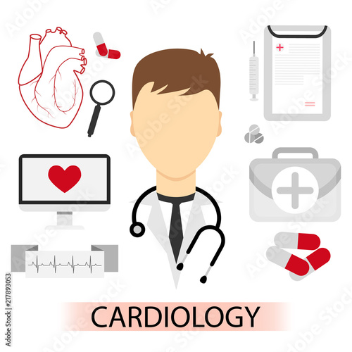 Vector Illustration Of Male Cardiology Doctor In Flat Style Medical