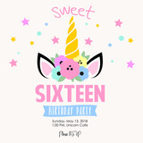 Sixteen unicorn birthday invitation