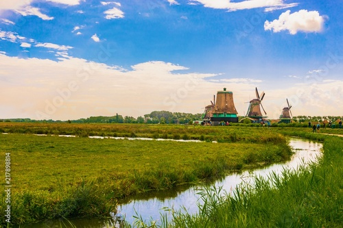 In de dag Rotterdam Nature area in Netherlands. Blue sky with clouds. Sunrise in Netherlands. Amazing colorful. Landscape nature view.