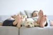 Leinwanddruck Bild - home comfort white dog