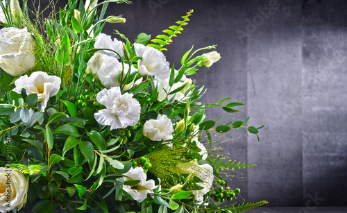 Composition with bouquet of freshly cut flowers