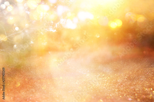 blurred abstract photo of light burst among trees and glitter golden bokeh lights. - 217903269