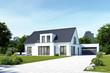 Leinwanddruck Bild - Einfamilienhaus 18 mit Garage Tag