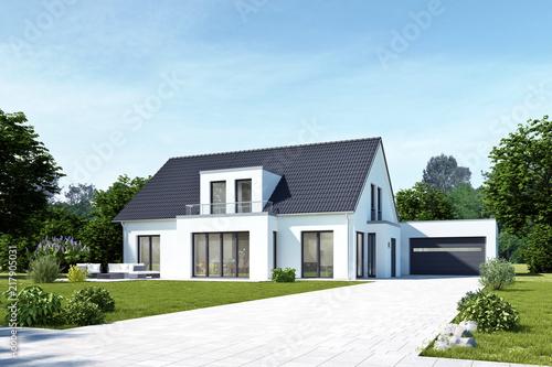 Leinwanddruck Bild Einfamilienhaus 18 mit Garage Tag
