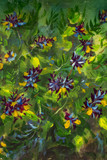 Oil painting Bush of violet yellow flowers on a green background nature flower illustration artwork on canvas art