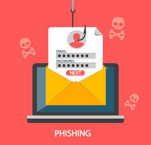 Phishing Login And Password On Fishing Hook From Email Envelope On Red   Skulls Concept Of Internet And Network Security Hacking Online Scam On Laptop Flat Style  Illustration Sticker