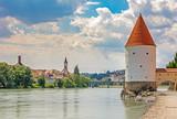 Schaibling Tower at the river Inn promenade in Passau - 217908819