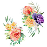 Beautiful watercolor flowers, floral wreaths, bouquets, arrangements, compositions. Roses with stems and leaves