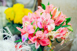 A bouquet of flowers, close-up. Beautiful peruvian lily.