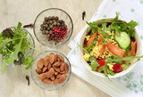 Moroccan salad: carrots, millet, herbs, pepper,  top view - 217910032