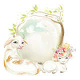 Cute watercolor farm animals - cow and sheep with floral, flowers bouquet and beautiful frame