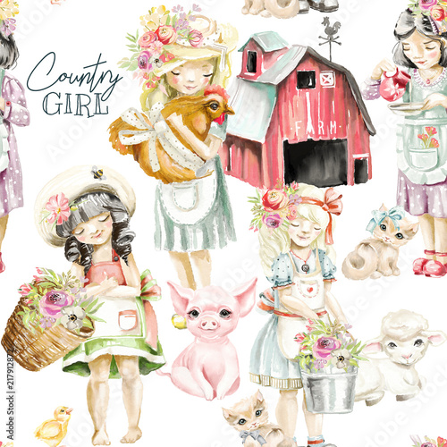 Cute watercolor farm animals with country girls with flowers and tied bows. Pig, sheep, kitten, bucket and basket with bouquets - 217912872