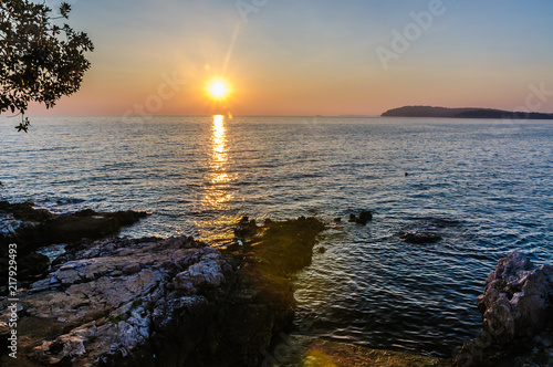 Sunset over Adriatic See near Pula (Croatia)
