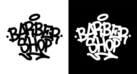 Barber shop. Graffiti tag in black over white, and white over black. Vector illustration.