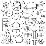 Set of hand drawn space icons.