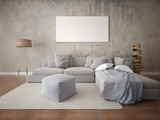 Mock up a spacious living room with a large corner sofa and a trendy hipster background.