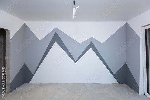 Children Room Interior With Mountain Paint