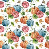 Watercolor bright pumpkin and leaves seamless pattern. Hand painted autumn pumpkin ornament with branch isolated on white background. Botanical illustration for design and fabric, halloween. - 217940453