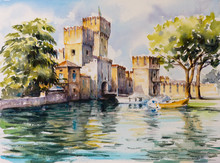 "Постер, картина, фотообои ""Sirmione, northern Italy. medieval castle Scaliger on lake Garda.Picture created with watercolors."""