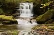 Long exposure of the big waterfall at Watersmeet in Devon - 217947851