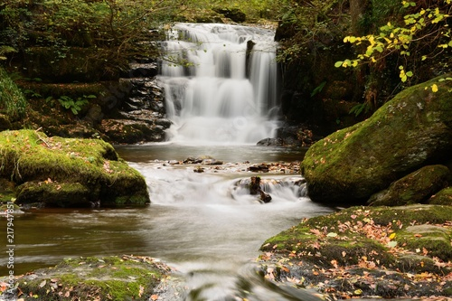 Long exposure of the big waterfall at Watersmeet in Devon - 217947851