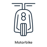 Motorbike icon vector isolated on white background, Motorbike sign , thin symbols or lined elements in outline style