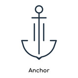 Anchor icon vector isolated on white background, Anchor sign , thin symbols or lined elements in outline style