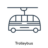 Trolleybus icon vector isolated on white background, Trolleybus sign , thin symbols or lined elements in outline style
