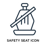 Safety seat icon vector isolated on white background, Safety seat sign , line symbol or linear element design in outline style