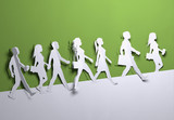 Folded Paper art origami. Various people and characters walking to their destination. Paper craft 3D illustration. - 217957051
