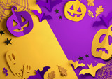 Folded Paper art origami. Purple and Orange Halloween background with cut out pumpkins, paper bats, ghosts and other decorations. 3D illustration.